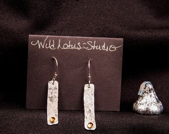 sterling silver & citrine drop earrings