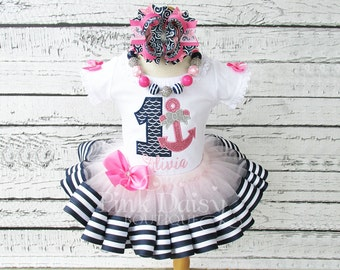 Nautical Birthday Outfit - Pink Navy Silver - Anchor Birthday Shirt - Ribbon Trimmed Tutu Outfit - Anchors Aweigh - Ocean - First Birthday