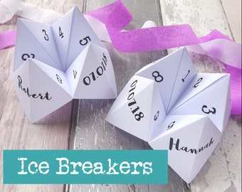 Wedding Ice Breakers - Wedding Table Ice Breakers - Wedding Table Decorations - Wedding Games - Fortune Tellers - Cootie Catchers - Weddings
