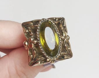 Green Gold Ring, Olive Green Olivine Glass Stone, Leafy Antique Gold Square & Adjustable Band, Vintage 60s Whiting and Davis Statement Ring