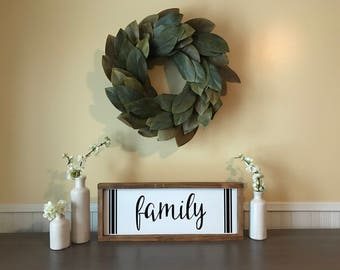Family Wood Sign, Grain Sack Stripe, Modern Farmhouse Sign, Framed Wooden Sign, Gallery Wall Décor, Gather Sign, Entry Way, Dining Room