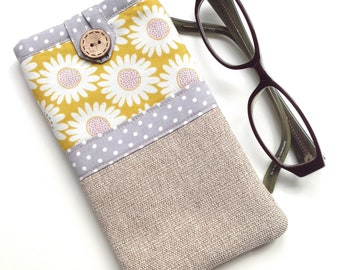 Glasses case - Spectacle case - Eyeglasses case - 'Sunflowers' Print - Fabric glasses pouch - Gift for mum