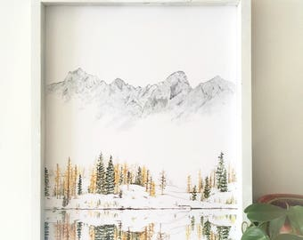 Winter Print, Mountain Print, Evergreen art, Forest Print, Mountain Painting, Nature Print, Landscape Print, The Enchantments, Mountain Art