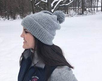 The Double Clear Beanie in Gray