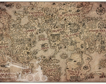 Tolkien map etsy vintage runescape world map print 24 x gumiabroncs Images