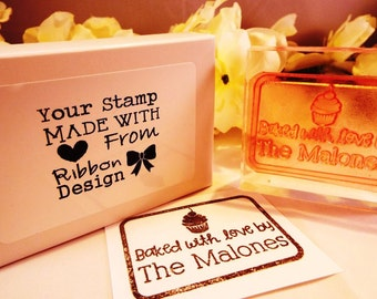 Personalised Stamp, 'Cupcake Design', Mounted  Polymer Stamp on Clear Acrylic Block, Small Business, Logo Stamp, Crafts