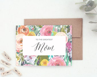 Mom Card. Mother's Day Card. Mother's Day Gift. Happy Mother's Day. Card for Mom. Cute Mother's Day Card. Floral Mothers Day Card.
