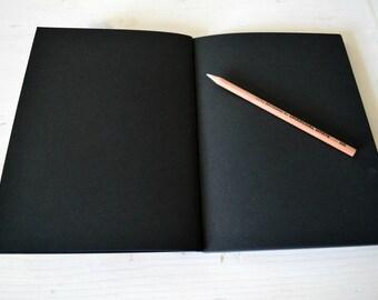 Black sketchbook, black journal , black artist book, black notebook, black paper, black book, black diary , flat sketchbook, black pages