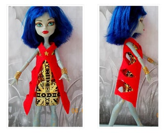 Doll Coat, Monster Doll High Fashion Coat, Space Jacket,  Doll Red Coat , Doll Red Jacket, MH Doll Red Coat, Monster Doll, Ever After High
