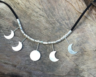 Moon Phase Necklace, Eclipse Necklace, Moon Necklace, Sterling Silver Moon Necklace, Bohemian Necklace, Gypsy Necklace,