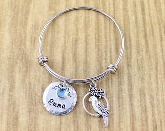 Personalized Quaker Parrot/Love Bird Bracelet • Custom Bangle Bracelet For Little Girl, Child, Teen or Adult • Pet Bird, Parrot Jewelry