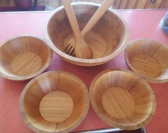 Wood salad bowl set! TEAKWOOD