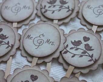 Love Bird Cupcake Toppers - Mr.& Mrs. Cupcake Picks - Food Picks - Wedding - Bridal Shower Decor - Set of 12