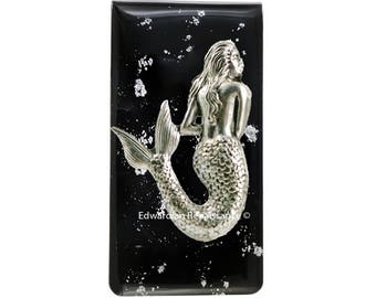 Mermaid Money Clip Inlaid in Hand Painted Glossy Black Enamel Silver Splash Design Inspired with Personalized and Color Options