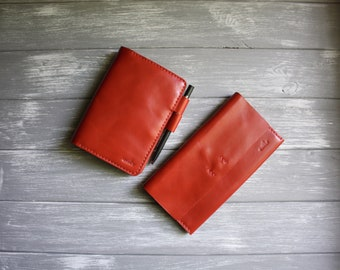 Red hobonichi cover A6 and leather wallet women Cash envelope wallet Planner cover Minimalist wallet women Leather notebook cover A6 cover