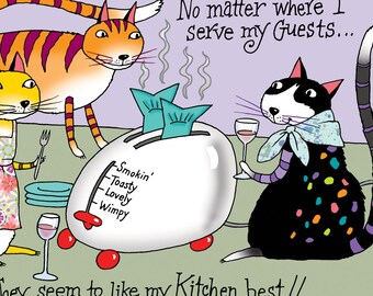 Cat Friends - Thank You Card (can be blank inside) Three Kats - Entertaining In The Kitchen Eating and Drinking Wine - Colorful Big Card