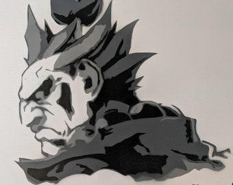 Akuma Street Fighter Spraypaint Stencil by Doudkine
