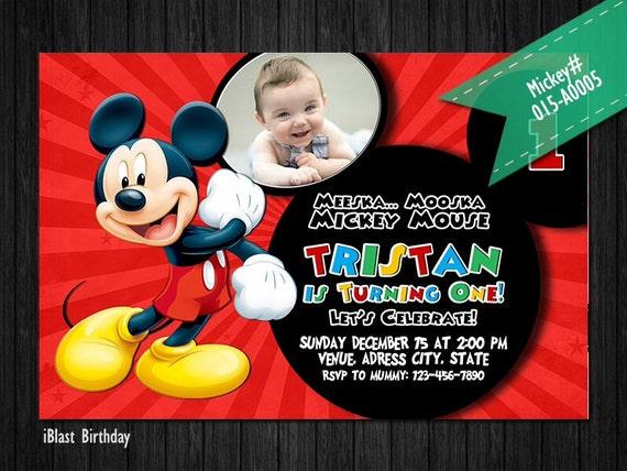 Mickey First Birthday Invitation Minnie PHOTO invite for