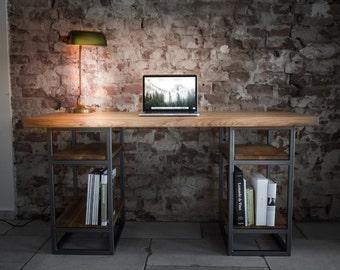 Elon desk solid wood oak steel frame