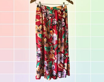 80s Red Tropical Monstera Leaf Floral Print Front Button Up Gored Midi Skirt size XS