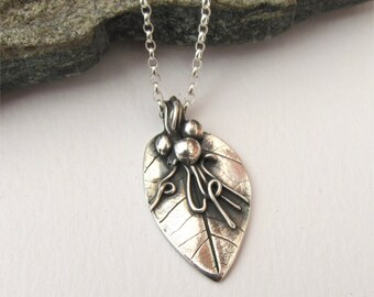 Silver Leaf Necklace, Real Leaf Necklace, One Of A Kind, Autumn Leaf Pendant