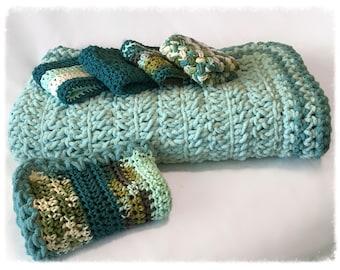 Handmade 6-Piece Teal/Green Baby Blanket Gift Set