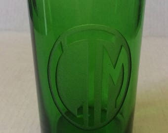 Vintage Art Deco Green Glass Vase, Incised w/ Stylised Initials LTM