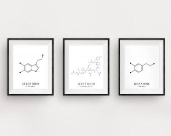 Molecule Printable Art Set - 3 Serotonin, Oxytocin & Dopamine Digital Print - Molecular Structure Chemistry Printable - Instant Download