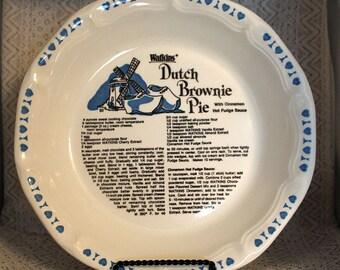 Watkins Pie Plates, Dutch Brownie Pie Recipe Plate, Pie Plate, Watkins 6482