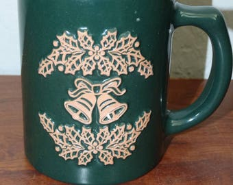Pfaltzgraff  Christmas Mug, Holly Berry, Bells, Pine Green, Hot Cocoa Mug