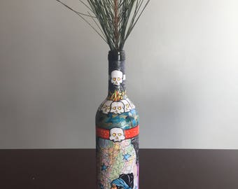 Original OOAK Altared Decoupage Wine Bottle with Skulls, Girls and Candles...  Roaring 20s Flapper Pin Up