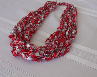 Ladder Yarn Crocheted Necklace - Ohio State - Trellis Yarn -  Red, Gray and Silver Sparkle