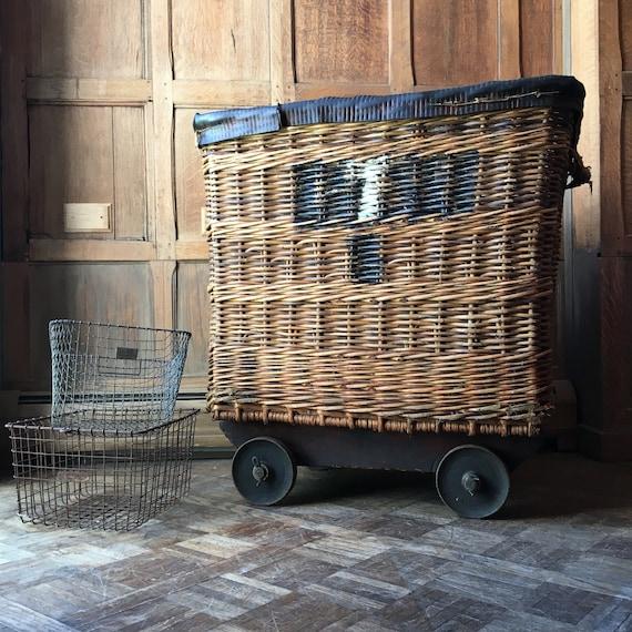 LARGE Antique Wicker Textile Mill Basket with Casters,European Linen Shipping Basket, Wicker Hamper Basket, Blanket Basket