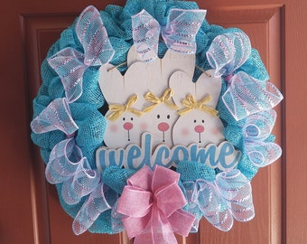 Easter Wreath Cute Bunnies Turquoise Blue & Pink