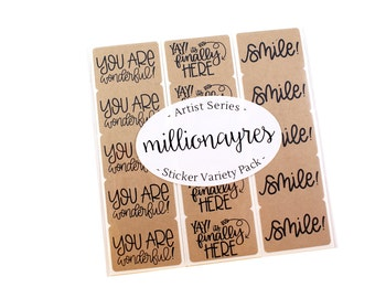 Artist Series sticker variety pack - MILLIONAYRES - you are wonderful, smile!, yay, it's finally here!