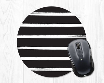 Mouse Pad Computer Mousepad Gift Black and White Striped Mouse Pad Office Decor Round Mouse Pad Cubicle Decor Office Supplies Desk Decor Fun