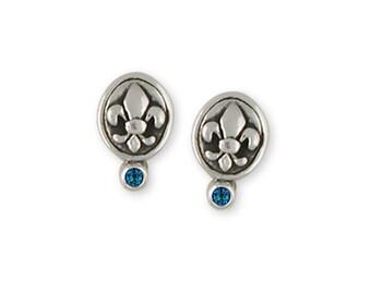 Fleur De Lis Birthstone Earrings Jewelry Sterling Silver Handmade Flower Earrings FD14-E