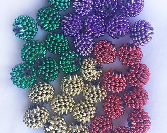 Destash razzelberry mixed bead lot - 15mm purple, green, red, and gold razzelberry acrylic beads - Destash Sale