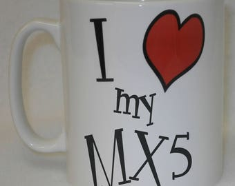 I Love Heart My MX5 Mug Can Be Personalised Great Sports Car Driver Owner Mazda Gift