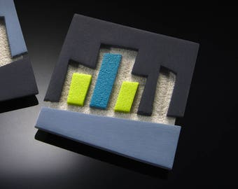 "Square Brooch ""Skyline"" - One of A Kind"