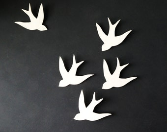 Wall art Swallows in Flight White Porcelain bird wall sculpture Modern Ceramic art for home decor wall decor set of 5 READY TO SHIP