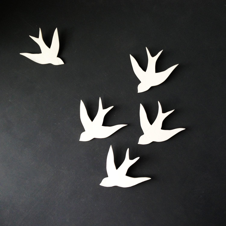White Wall Decor Wall Art Swallows In Flight White Porcelain Bird Wall
