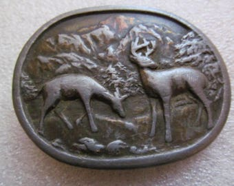 Indiana Metal Craft Vintage Belt Buckle Deer Scene