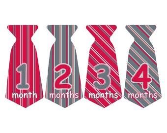 12 Pre-cut Monthly Baby Milestone Waterproof Glossy Stickers - Neck Tie Shape - Design T008-02