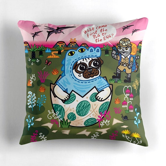 """What Came First The Pug Or The Egg? - Children's Decor - Pug and Cat - Animal Cushion cover / Throw Pillow cover - (16"""" x 16"""")"""
