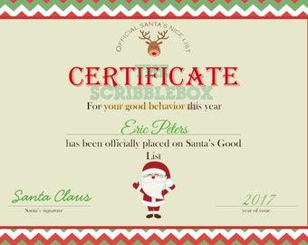 Official Santa Nice list certificate