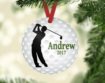 Golf ornament, Golfer ornament, Golfer Christmas ornament, personalized ornament, Golf team gift, Gift for golfer