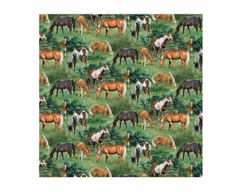 Wild Wings Horse Fabric Valley Crest Scenic Fabric From Springs Creative