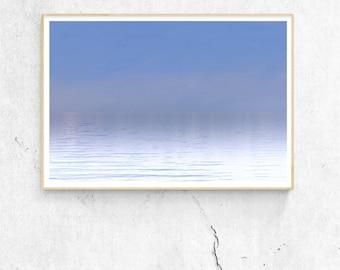 Surf Photography, Minimalist Wall Art, Blue Color Gradient, Minimalist Modern Art, Lake Photography, Minimalist Landscape Print, Salton Sea