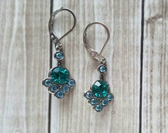 Swarovski Crystal Dangle Earrings, Blue Zircon and Aquamarine, Silver Setting, Vintage Collection